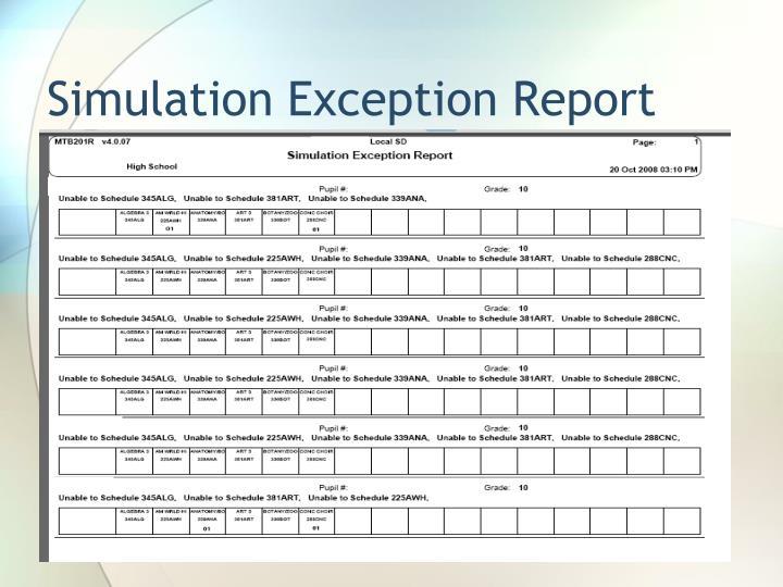Simulation Exception Report