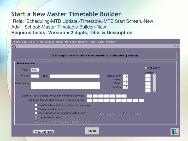 Start a New Master Timetable Builder