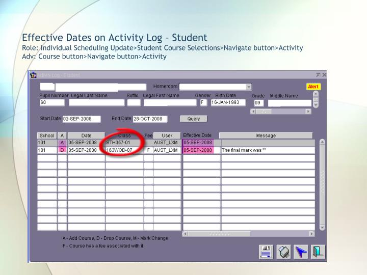 Effective Dates on Activity Log – Student