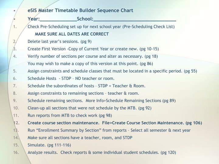 eSIS Master Timetable Builder Sequence Chart