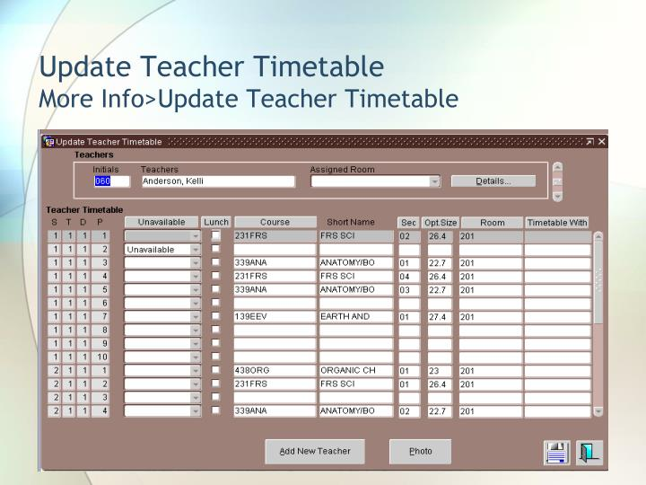 Update Teacher Timetable