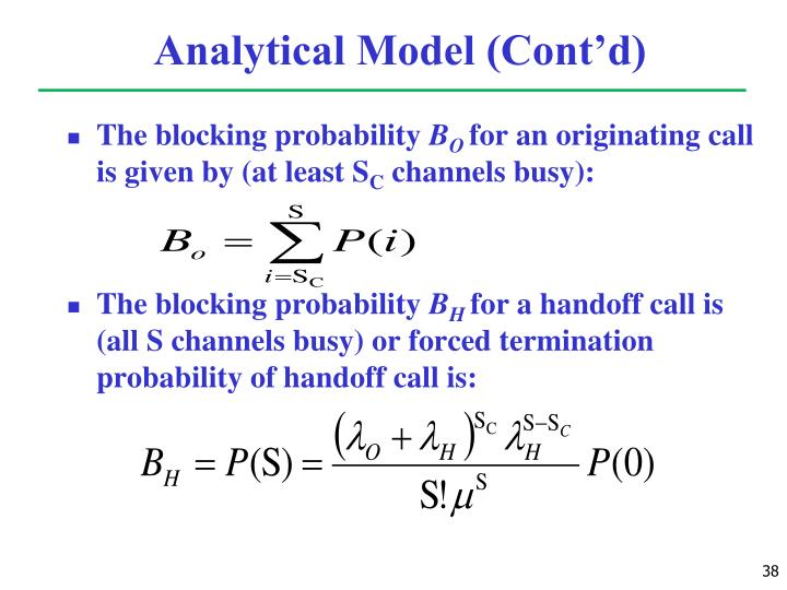 Analytical Model (Cont'd)