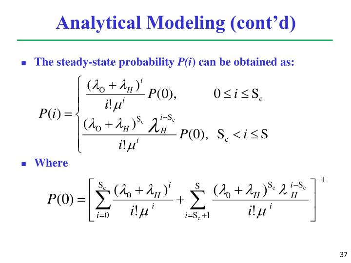 Analytical Modeling (cont'd)