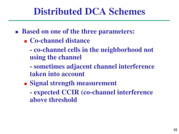 Distributed DCA Schemes