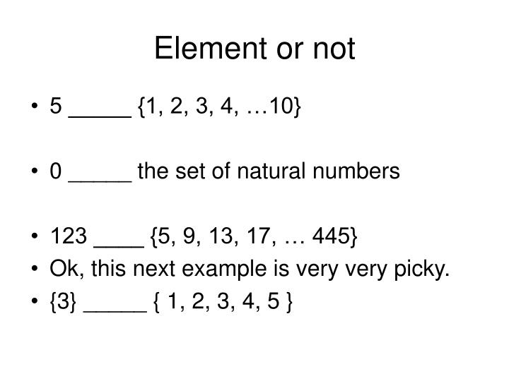 Element or not