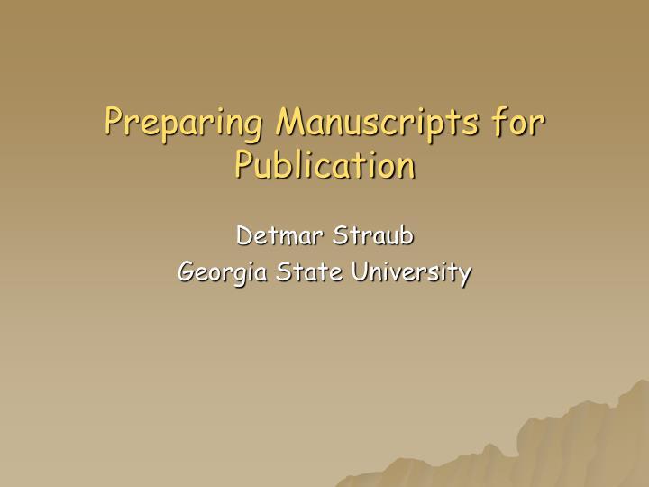 preparing manuscripts for publication n.