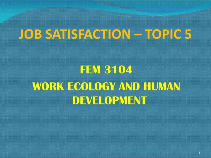 job satisfaction topic 5 n.