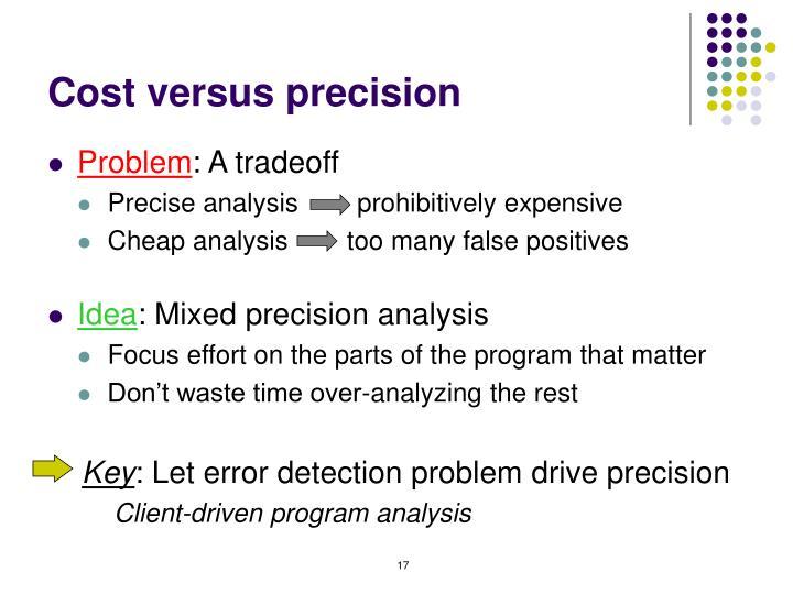 Cost versus precision