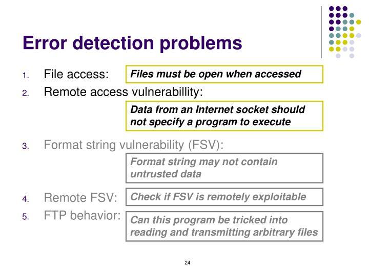 Error detection problems