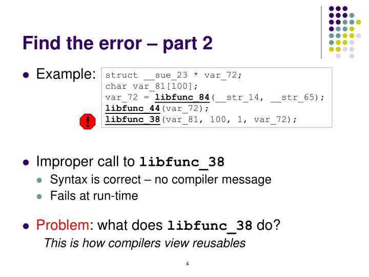 Find the error – part 2