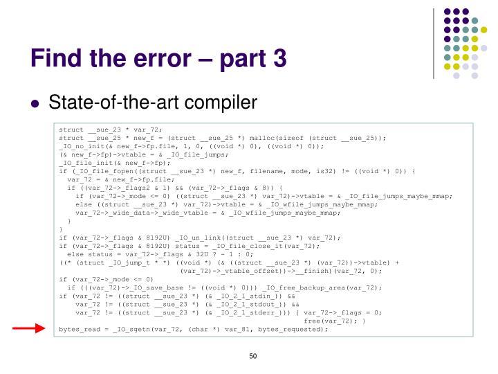 Find the error – part 3