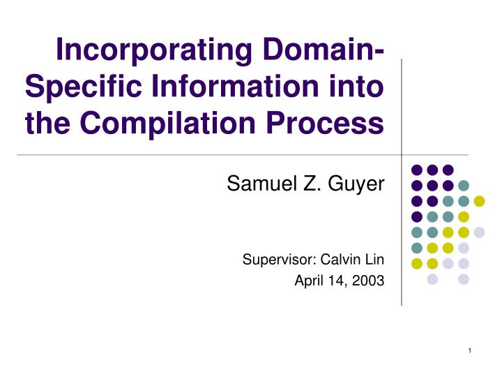 Incorporating domain specific information into the compilation process