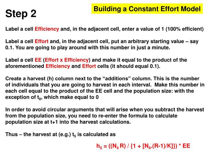 Building a Constant Effort Model