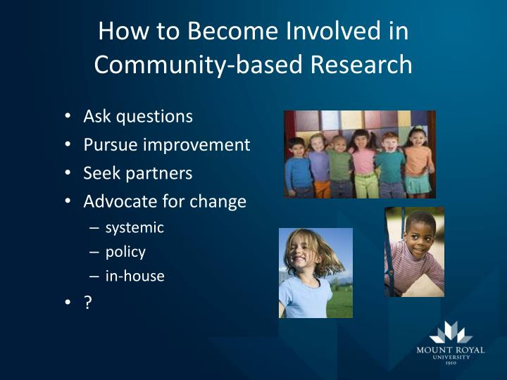 How to Become Involved in Community-based Research