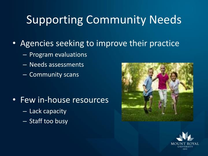 Supporting community needs