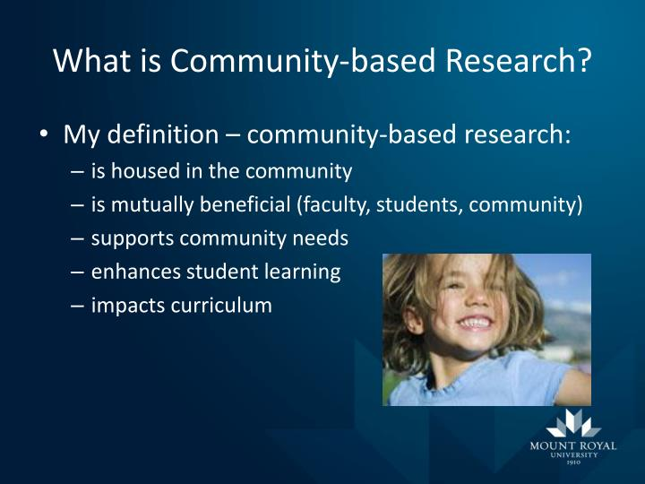 What is community based research
