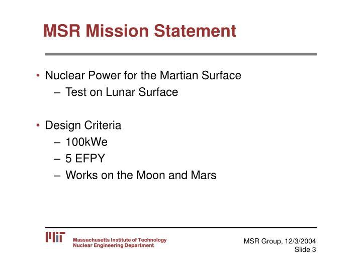 Msr mission statement