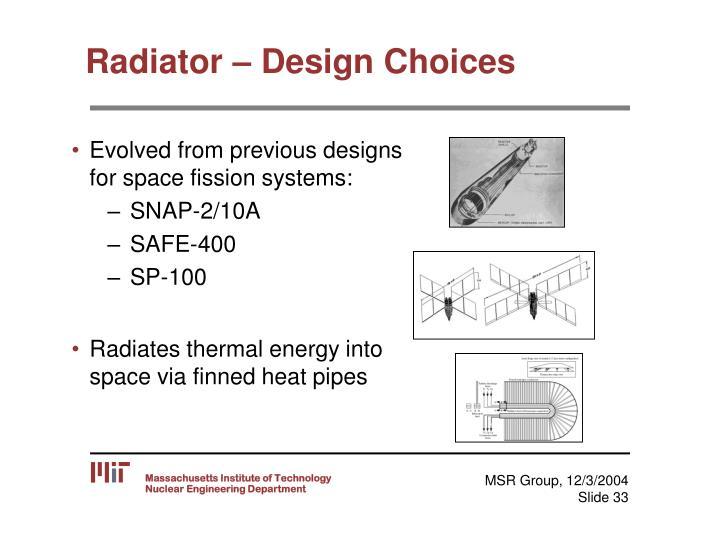 Radiator – Design Choices