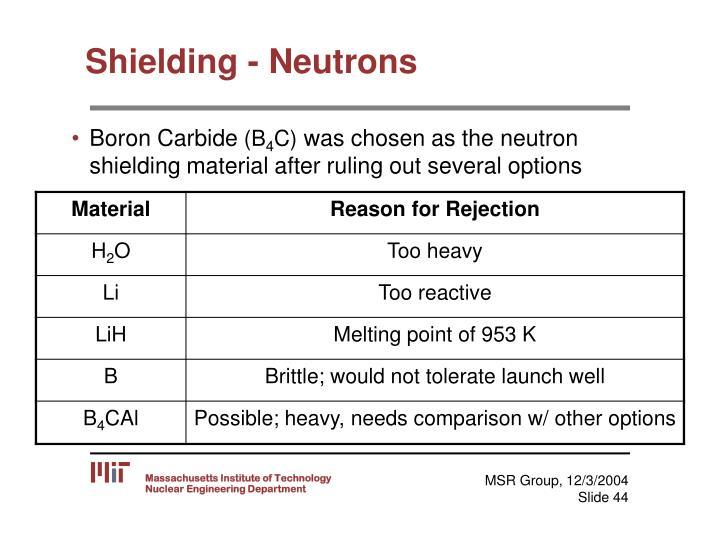 Shielding - Neutrons