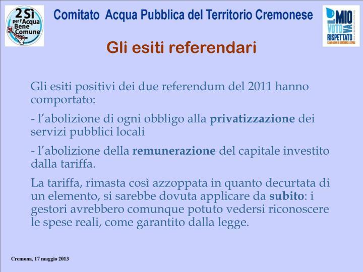 Gli esiti referendari