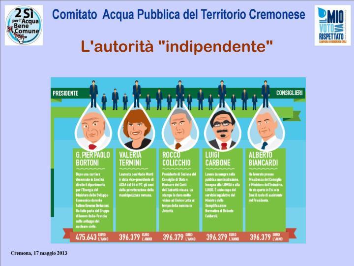 """L'autorità """"indipendente"""""""