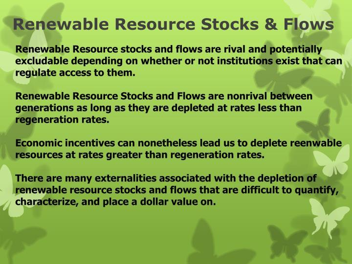 Renewable resource stocks flows