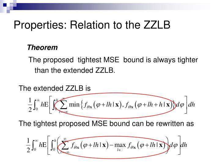 Properties: Relation to the ZZLB