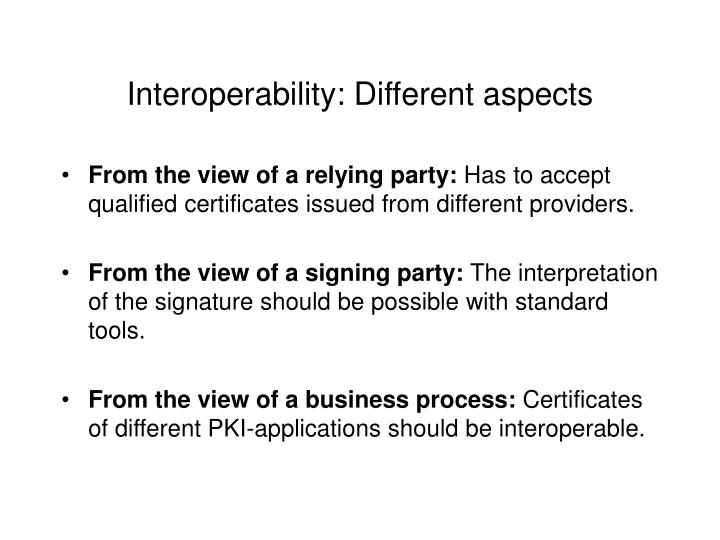 Interoperability: Different aspects