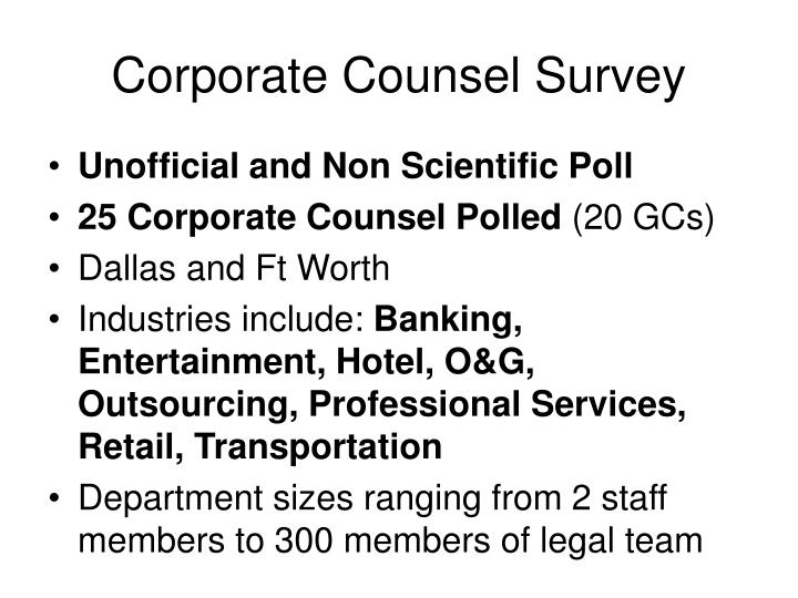 Corporate Counsel Survey