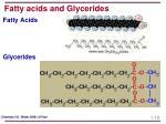 fatty acids and glycerides