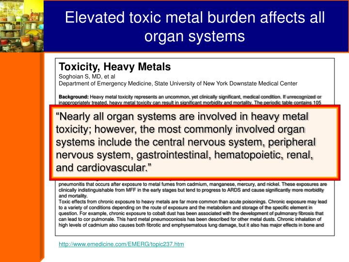 Elevated toxic metal burden affects all organ systems