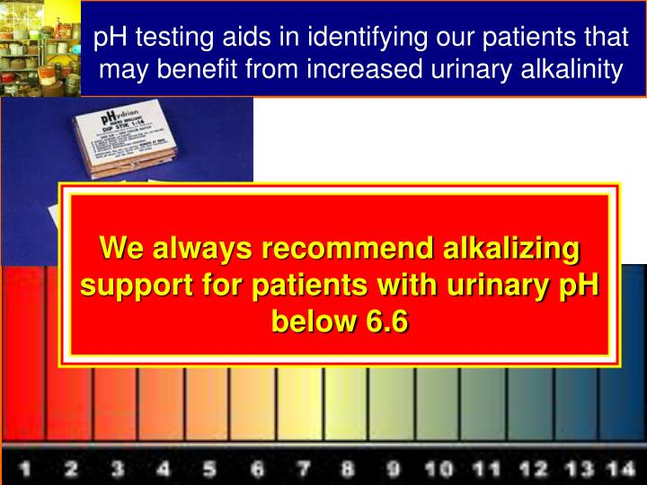 pH testing aids in identifying our patients that may benefit from increased urinary alkalinity