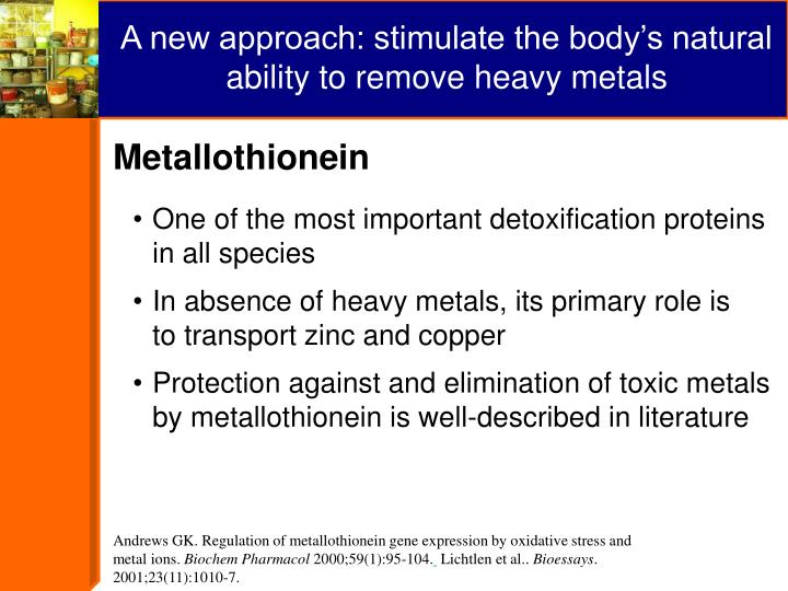 A new approach: stimulate the body's natural ability to remove heavy metals