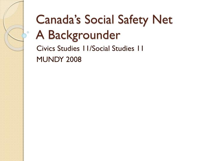 canada s social safety net a backgrounder n.