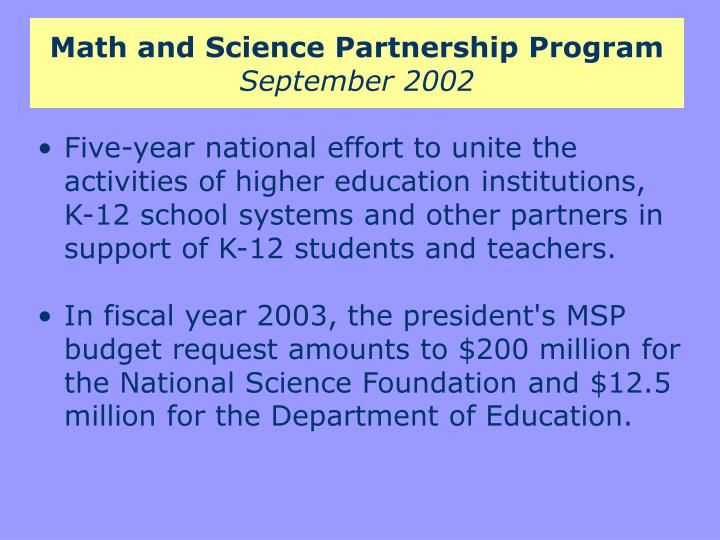 Math and science partnership program september 2002
