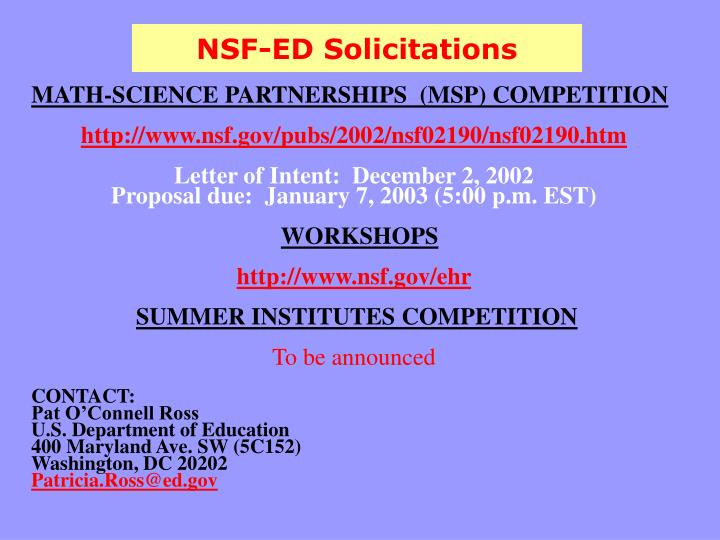 NSF-ED Solicitations