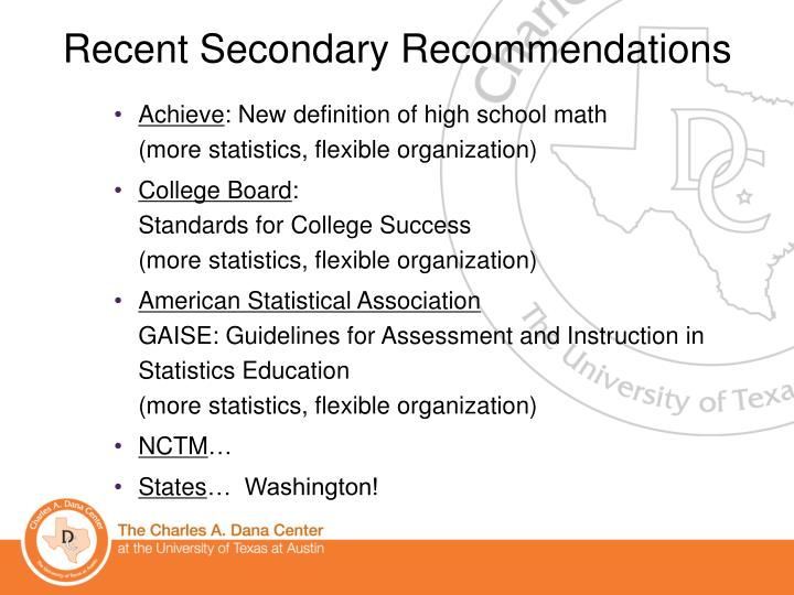 Recent Secondary Recommendations