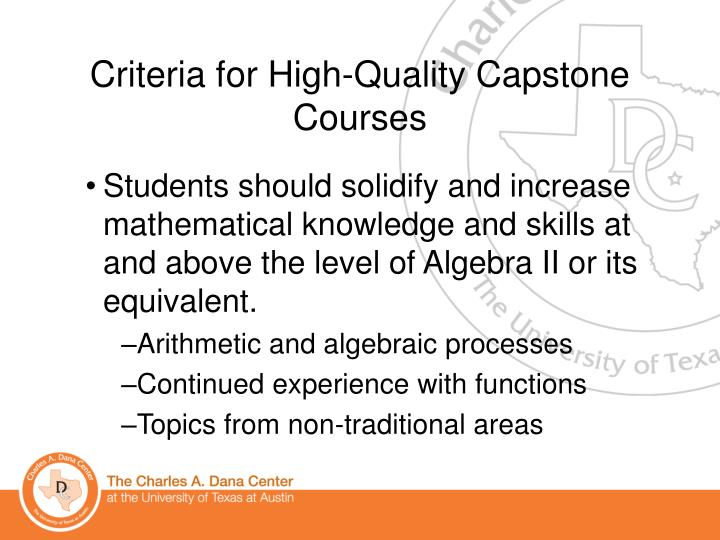 Criteria for High-Quality Capstone Courses