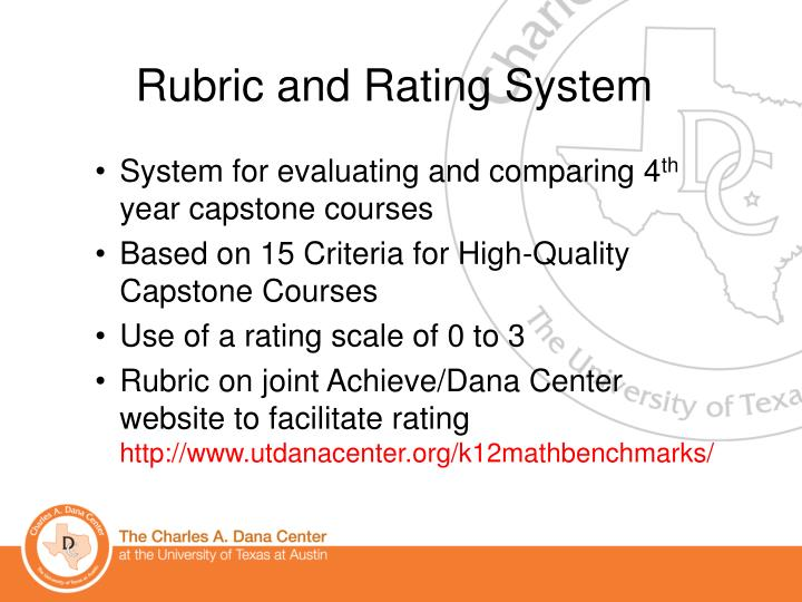 Rubric and Rating System