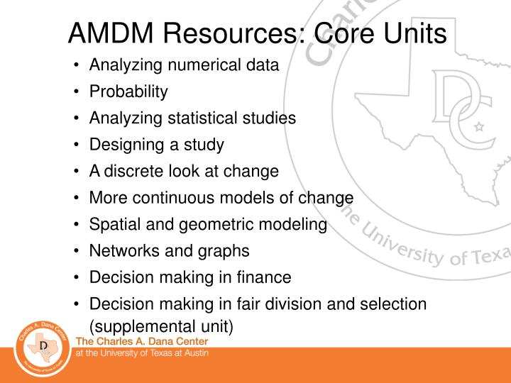 AMDM Resources: Core Units