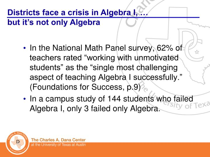 """In the National Math Panel survey, 62% of teachers rated """"working with unmotivated students"""" as the """"single most challenging aspect of teaching Algebra I successfully."""" (Foundations for Success, p.9)"""