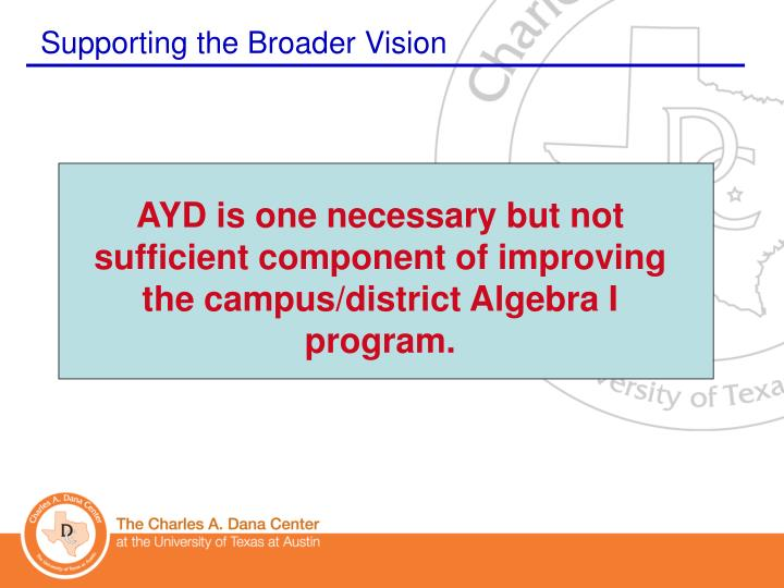 AYD is one necessary but not sufficient component of improving the campus/district Algebra I program.