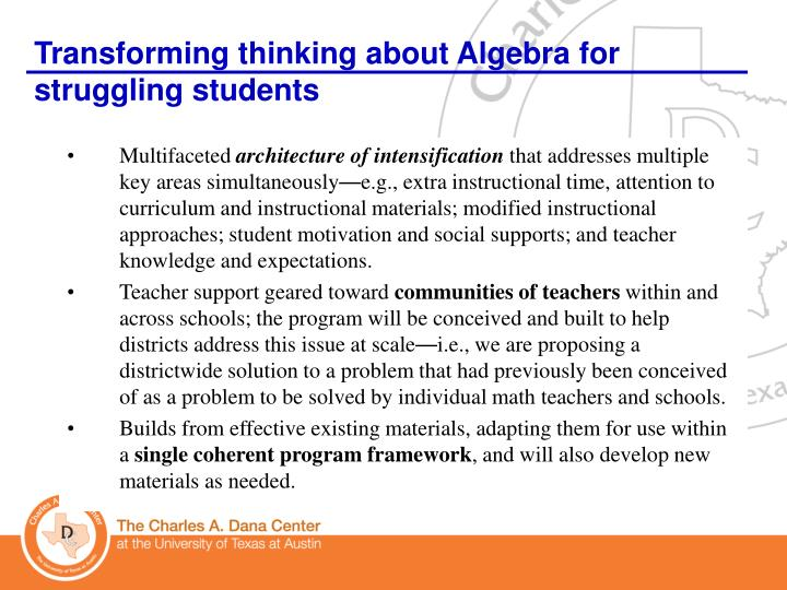Transforming thinking about Algebra for struggling students