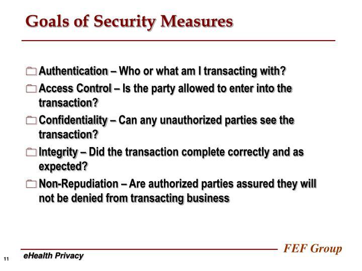 Goals of Security Measures