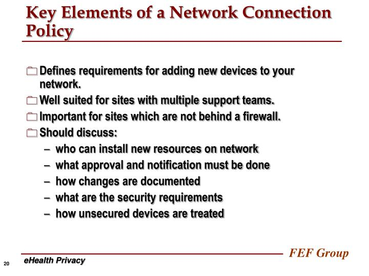Key Elements of a Network Connection Policy