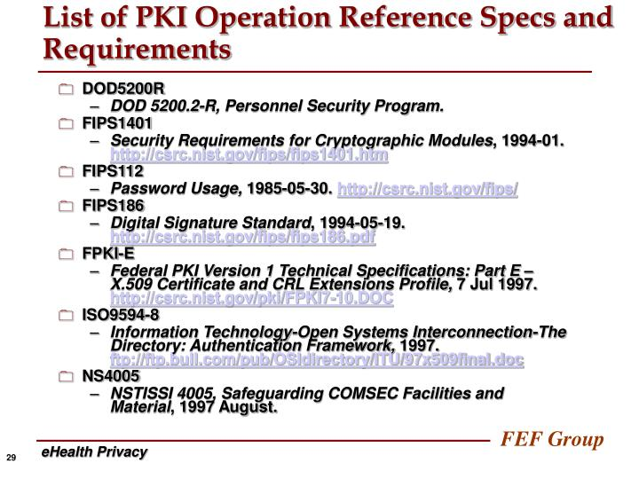 List of PKI Operation Reference Specs and Requirements