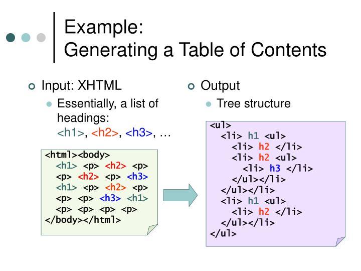 Input: XHTML