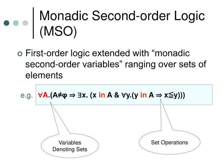 Monadic second order logic mso