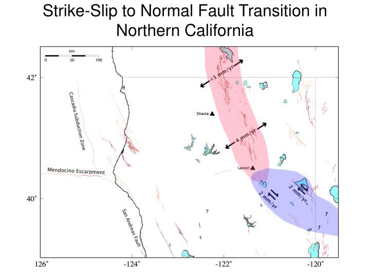 Strike-Slip to Normal Fault Transition in Northern California