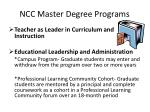 ncc master degree programs